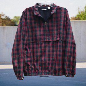 Liz Golf Plaid Jacket Vented Pockets 1/4 Zip Mesh